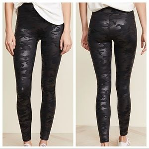 M Spanx Faux Leather Camo Leggings Camoflauge Pant